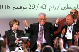 Palestinian President Mahmoud Abbas speaking during the Fatah Congress, held in Ramallah, on  November 30, 2016 [Mohamad Torokman/Reuters]
