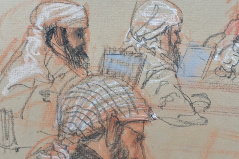A courtroom sketch of Ammar al-Baluchi, one of the Guantanamo detainees on trial for allegedly financing the 9/11 hijackers [Janet Hamlin/Hamlin Illustration]