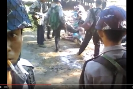 YouTube footage purportedly showed an officer kicking a Rohingya in the face [Mir Ahmed A.B Siddiquee/YouTube]