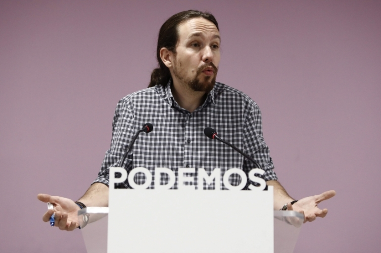 Podemos general secretary Pablo Iglesias at a news conference in the party's headquarters in Madrid [EPA]