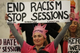 Protesters from Code Pink disrupted the hearing several times [Kevin Lamarque/Reuters]