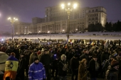 People take part in a demonstration to protest against government plans to reform criminal laws through emergency decree, in Bucharest, Romania, on January 29 [Octav Ganea/Reuters]