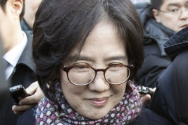 South Korean academic Park Yu-ha left a Seoul court on Wednesday after winning a defamation case arising from her book about the Korean women Japan forced into sexual slavery during WWII [EPA]