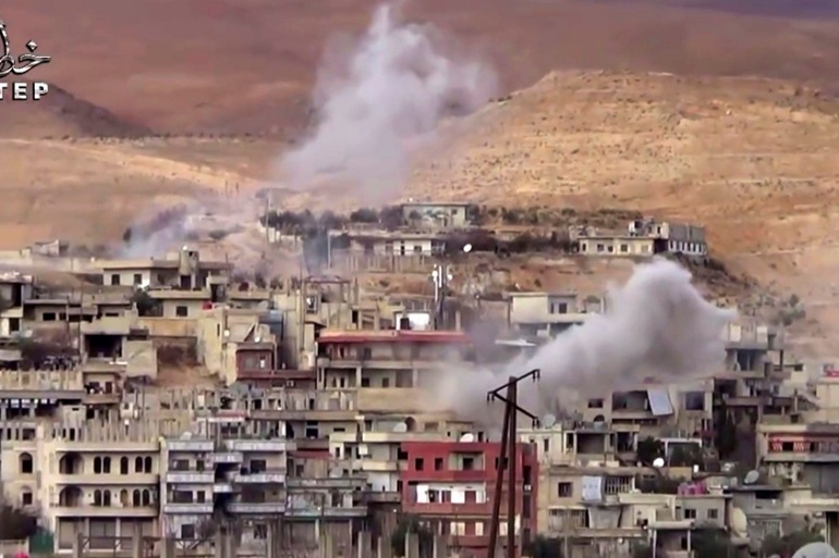 The Syrian army has shelled Wadi Barada in spite a ceasefire in place since last week [Step News Agency, via AP]