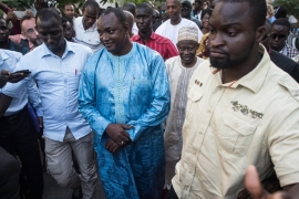Barrow has urged Gambians to 'exercise restraint' in the run-up to his inauguration [AP]