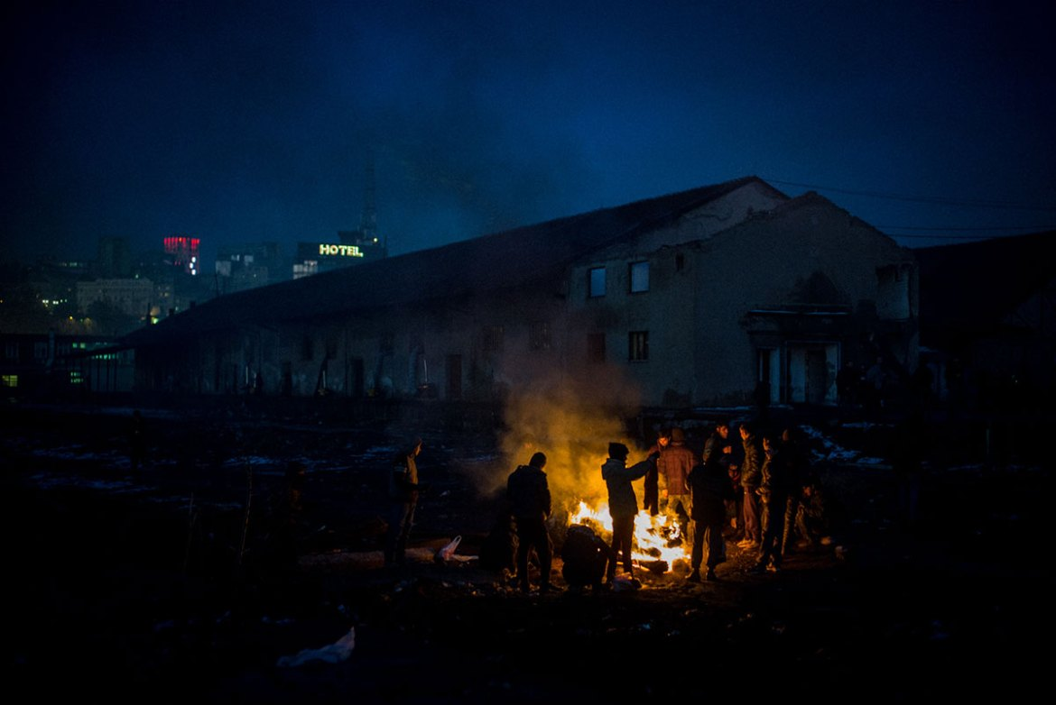 One of the old warehouses where migrants are living, in downtown Belgrade. [Federico Scoppa/CAPTA/Al Jazeera]