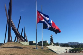 Flags flew at half-staff by Antonio Maceo Square, Santiago after the death of Fidel Castro [Ed Augustin/Al Jazeera]