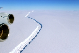 A photo made available by NASA shows a view of a massive rift in the Antarctic Peninsula's Larsen C ice shelf [EPA]