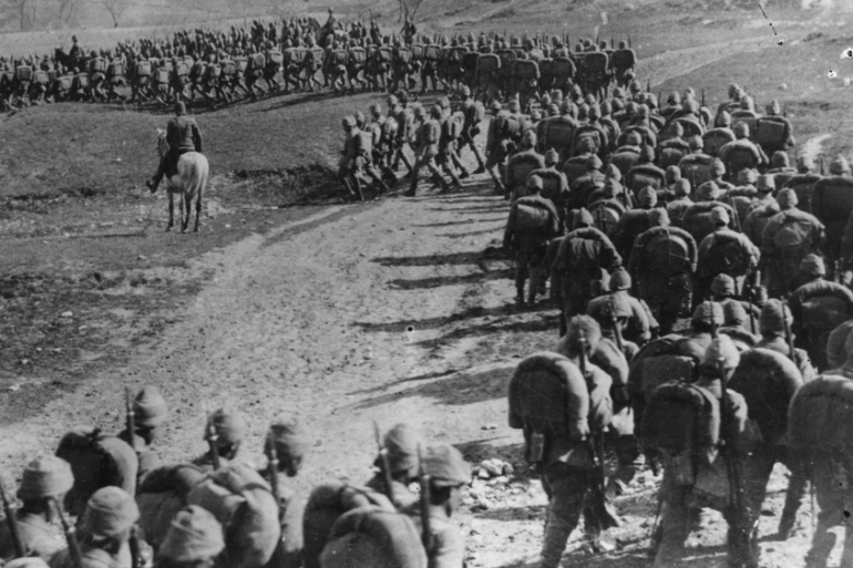 Ottoman infantry on the move in the Middle East front during the World War I [Getty Images]