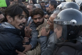 Police clashed with protesters rallying for the missing activists in Karachi earlier this month [Shakil Adil/AP]