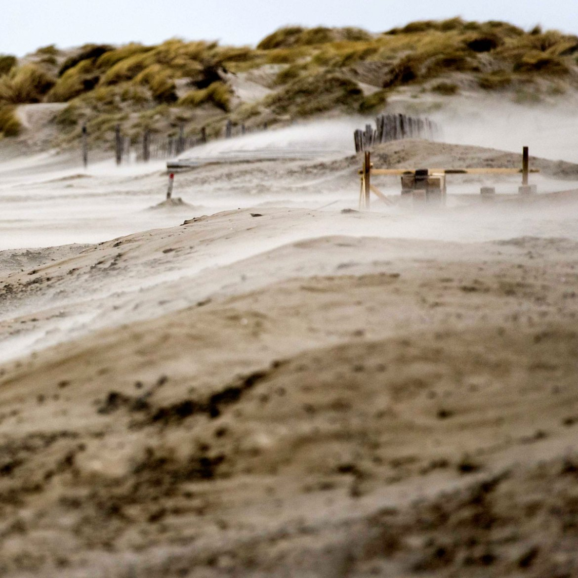 Sand blasting across the beach as Storm Doris heads for Ijmuiden, The Netherlands. [Koen van Weel/EPA] [EPA]