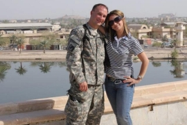 Farah and her future husband Michael at the top of Al-Faw Palace in Baghdad in the summer of 2011 [Photo courtesy of Farah Marcolla]