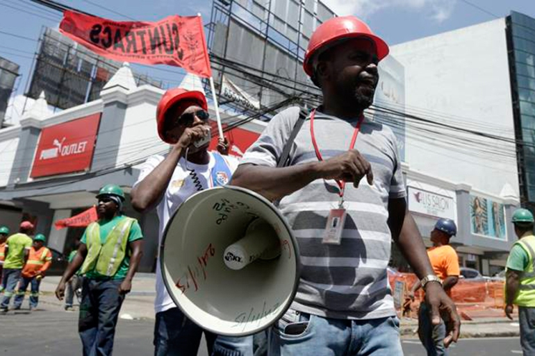 Labour unions were heavily involved in Friday's anti-corruption protests [AP]