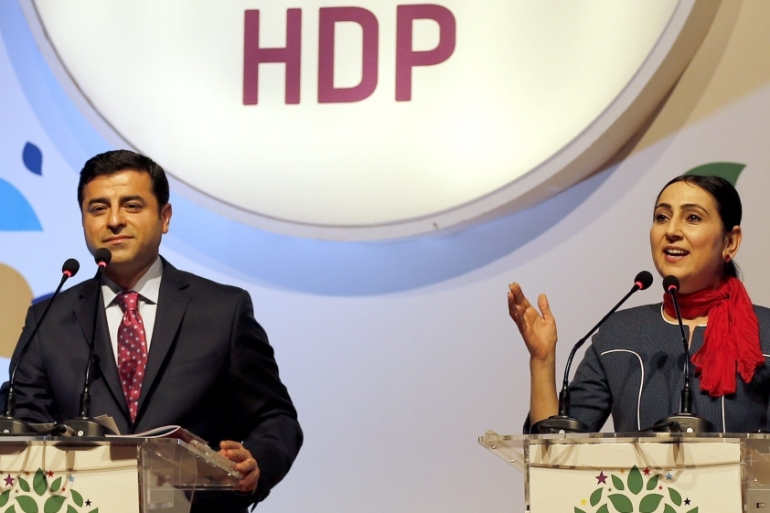 The HDP's two co-leaders were arrested in November 2016 on other terrorism-related charges after their parliamentary immunity was lifted last March [Sedat Suna/EPA]