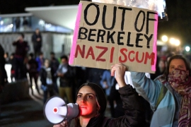 Thousands protested against far-right speaker Milo Yiannopoulos at UC Berkeley earlier this month [Noah Berger/EPA]