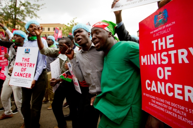 Kenya's public sector doctors began striking two months ago to protest against the Ministry of Health's failure to implement a 2013 agreement which included raising salaries [Jacob Kushner/Al Jazeera]