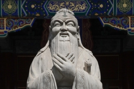 A statue of the Chinese philosopher Confucius, at the Confucian Temple in Beijing, China [Rolex Dela Pena/EPA]
