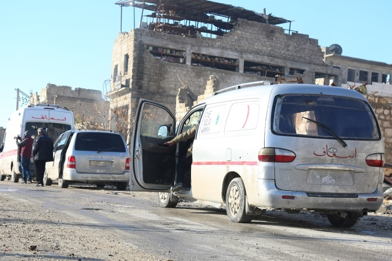 An ambulance begins heading towards the Aleppo countryside during the massive evacuation process [Malek Al Shimale/Al Jazeera]