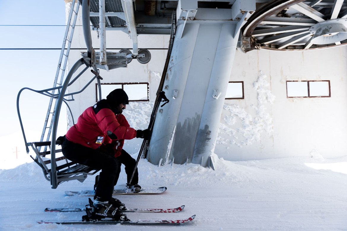 This chairlift climbs to the highest point of the ski resort, Mount Mzaar. [Constance Decorde/Al Jazeera]