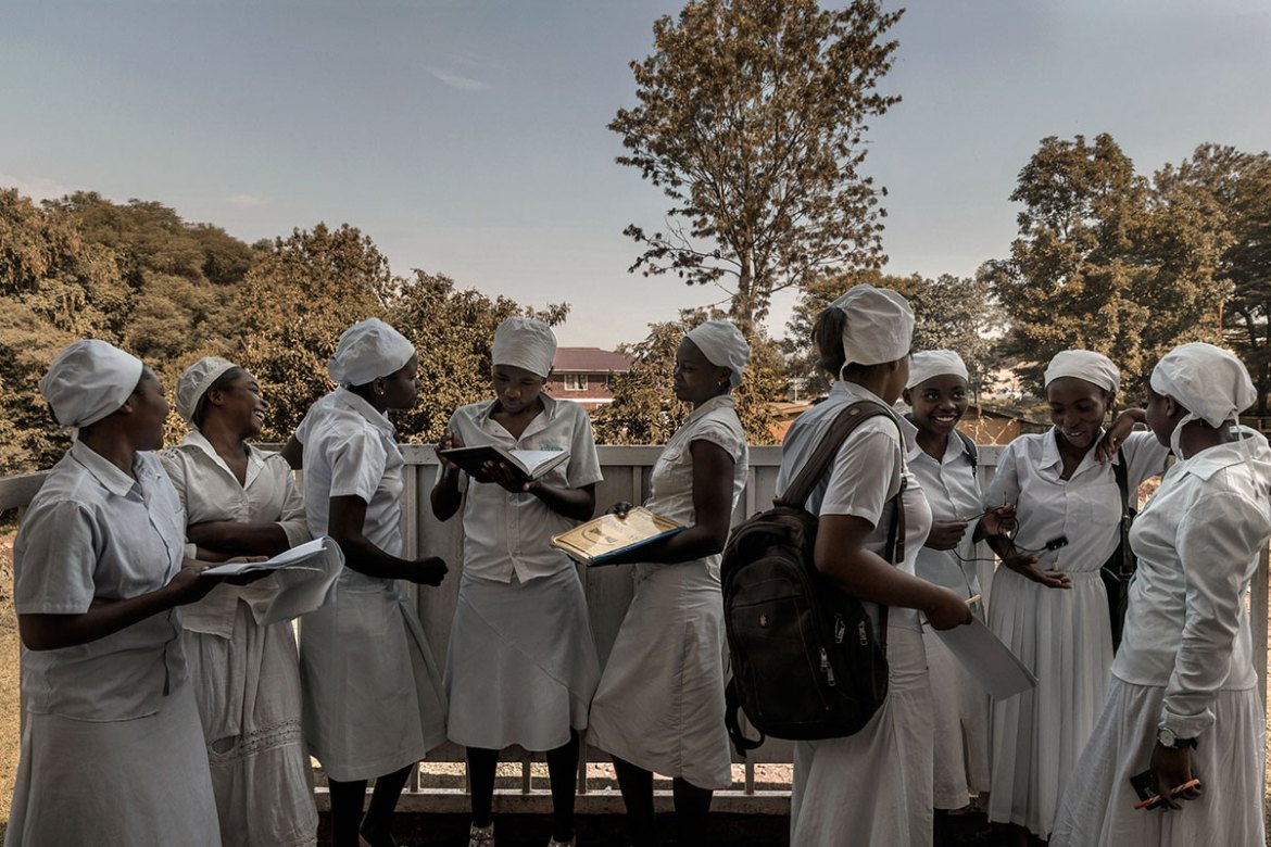 Nurse interns at Panzi hospital, Bukavu. The hospital has become a key centre for women who have suffered sexual abuse; offering a complete treatment programme, ranging from emergency surgery to economic and social support. [Marco Gualazzini/Al Jazeera]