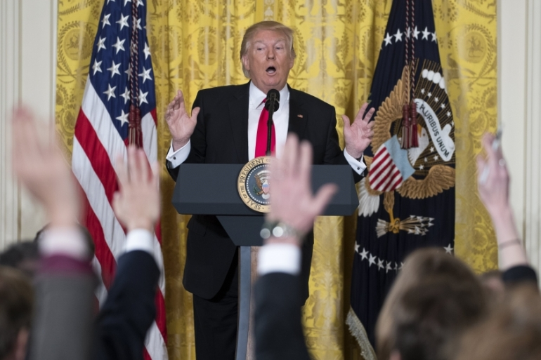 US President Donald Trump participates in a news conference in the East Room in of the White House on February 16 [Shawn Thew/EPA]