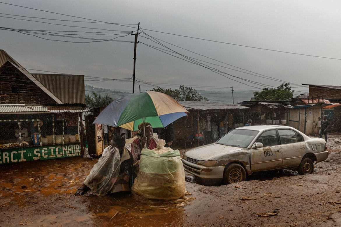 The neighbourhood of Panzi, where the Panzi Hospital is located, during a thunderstorm. [Marco Gualazzini/Al Jazeera]