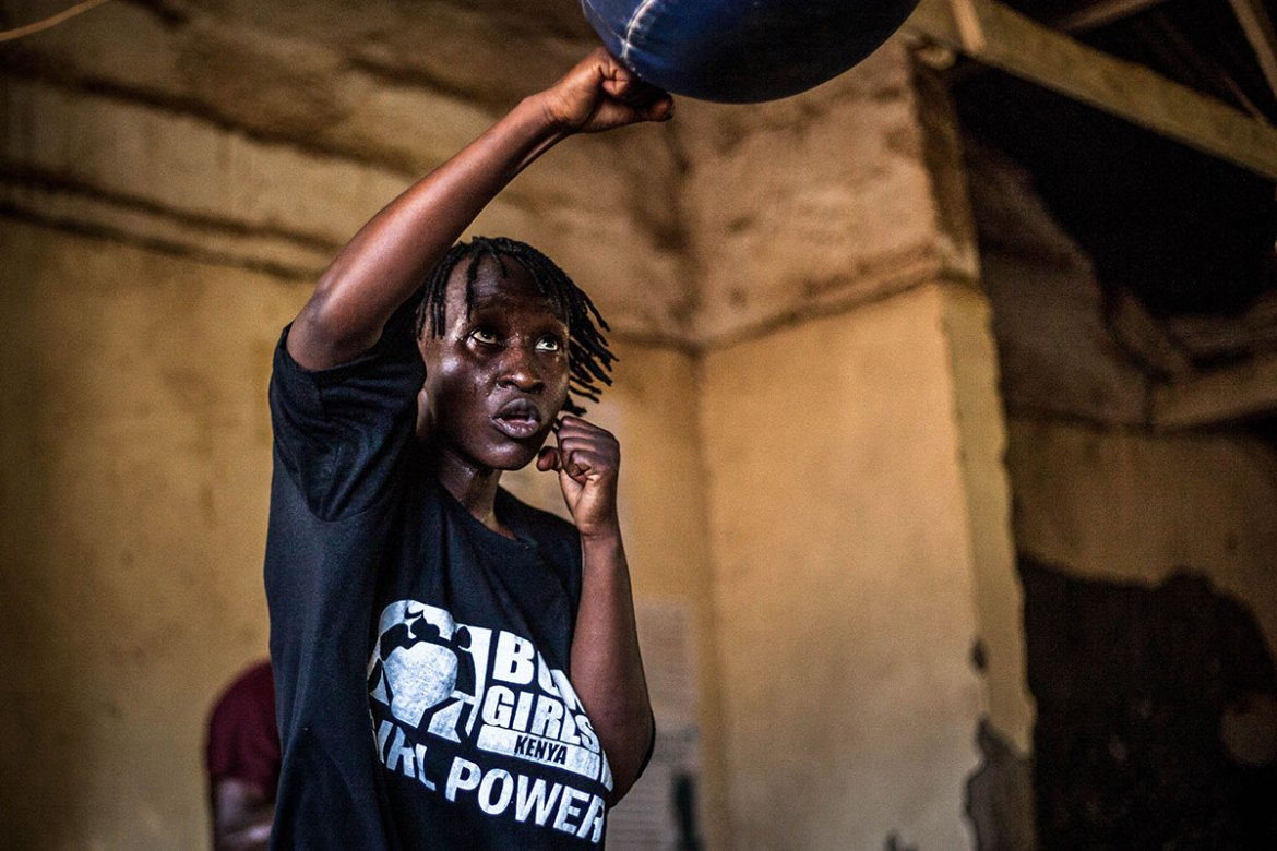 The boxing academy in Kariobangi began with 19 girls in the aftermath of the 2007-2008 post-election violence. Today, Box Girls trains more than 1,500 girls. [Natalia Jidovanu/Al Jazeera]