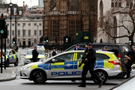 Armed police respond outside Parliament during an incident on Westminster Bridge in London, Britain March 22, 2017 [Stefan Wermuth/Reuters]