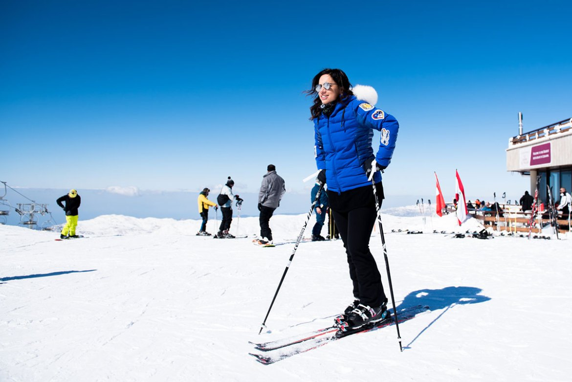 Nicole Wakim, who has worked at the ski resort since 2005, noted: 'We organise many events, from torchlight runs, lingerie shows and snow parks, to nightly and festive events. The idea here is to ... have fun in every way.' [Constance Decorde/Al Jazeera]