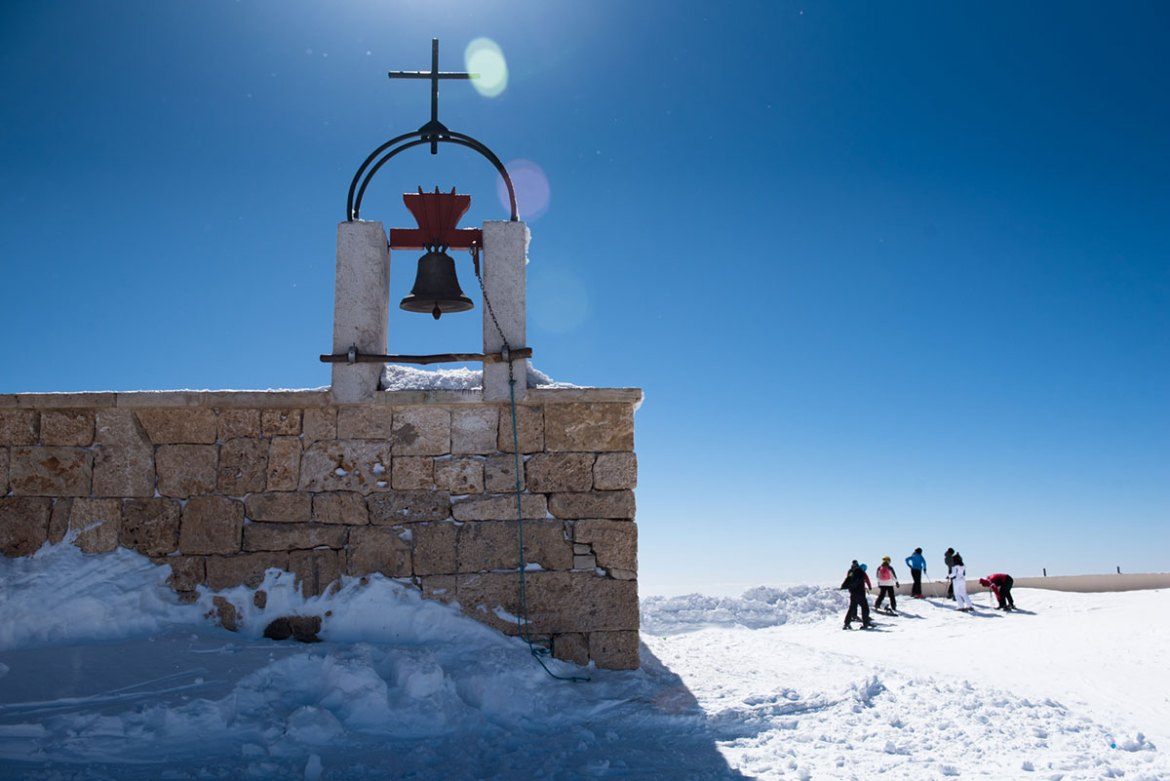On top of Mount Mzaar, this church is the highest one in Lebanon, the resort's director noted with pride. [Constance Decorde/Al Jazeera]