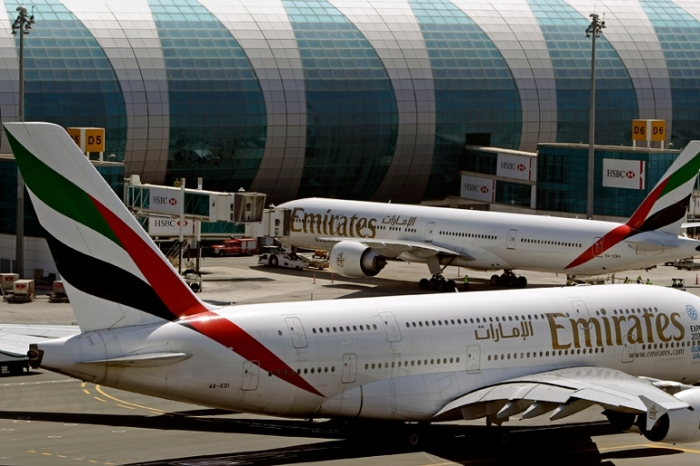 The UAE's flagship carrier, Emirates Airline, posted a video on social media with the slogan 'Let us entertain you' [The Associated Press]