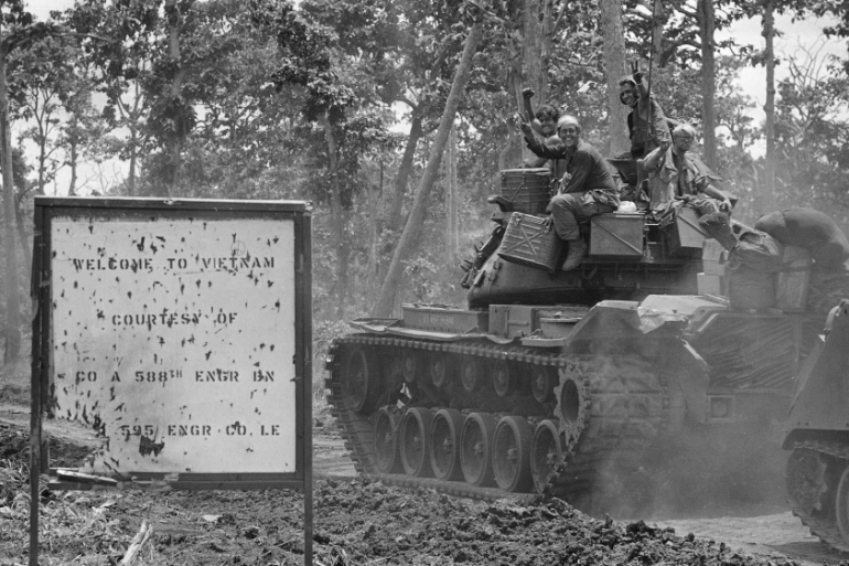 US soldiers of the 11th Armored Cavalry Regiment, among the first to enter Cambodia in April and May in June 1970 [Henri Huet/AP]