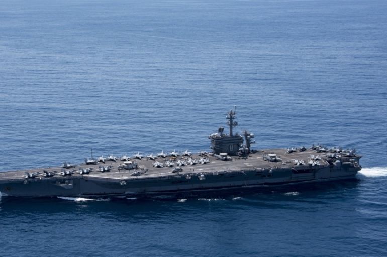 The Navy released a photograph of the aircraft carrier off Indonesia over the weekend [EPA]