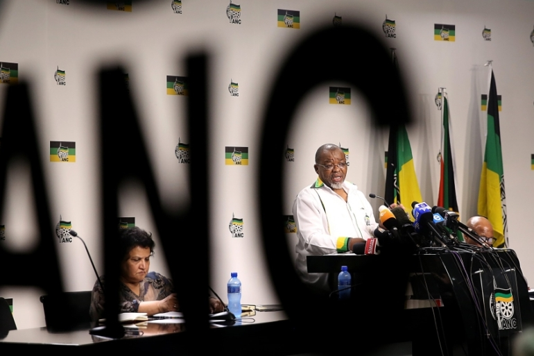 ANC Secretary General Gwede Mantashe said ANC would 'close ranks' around the president [EPA]