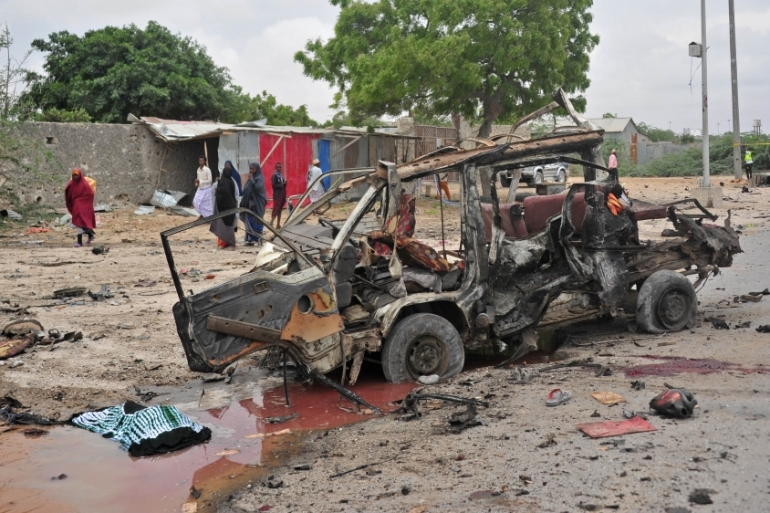 A car bomb attack targeting Somalia's new army chief killed at least five people on April 9 [Mohamed Abdiwahab/AFP]
