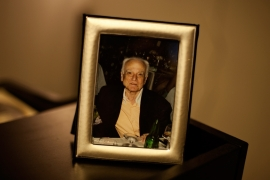 A portrait of Dimitris Christoulas in his daughter Emmy's house [Paulo Siqueira/Al Jazeera]