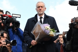 Polls put Labour Party support in the UK at around 25 percent [EPA/Andy Rain]