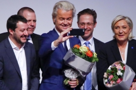 Dutch far-right Party for Freedom (PVV) leader Geert Wilders takes a photo during the European far-right leaders meeting in Koblenz, Germany, on January 21 [Wolfgang Rattay/Reuters]