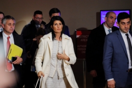 US Ambassador Nikki Haley said the missile strikes were 'fully justified' [Lucas Jackson/Reuters]