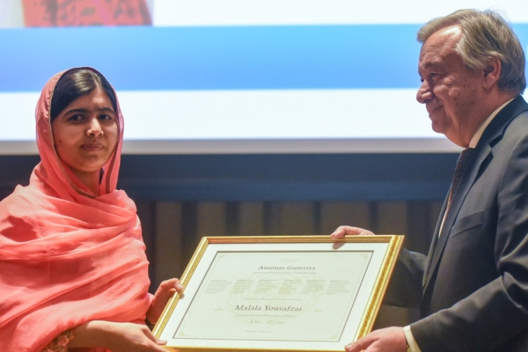 Malala believes 'education is a right of every child and especially for girls' [Stephanie Keith/Reuters]