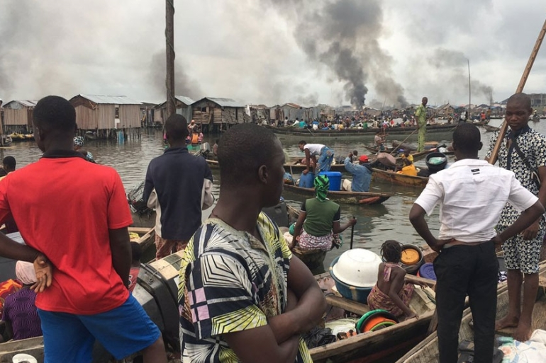 Otodo Gbame residents fled on canoes as their homes were being levelled [Justice and Empowerment Initiatives]