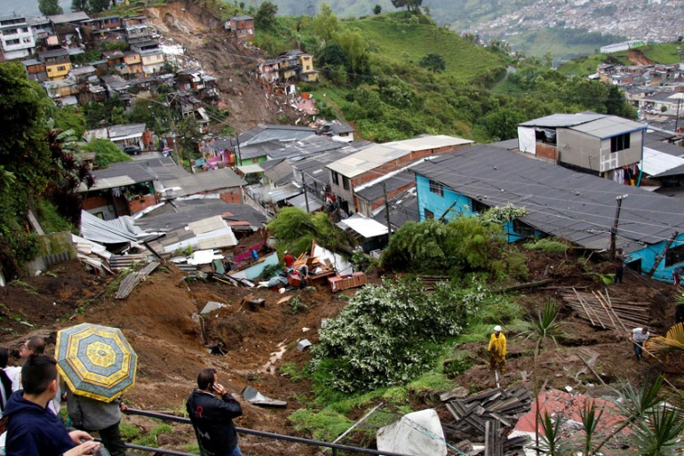 The Red Cross said at least 20 people were missing after the major landslide [Santiago Osorio/Reuters]