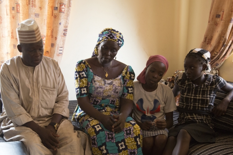 The Mark family at home. Three years ago, two girls from the family were among the 276 Chibok schoolgirls abducted by the Boko Haram armed group [Chika Oduah/Al Jazeera]