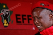 Julius Malema looks on before addressing his supporters during his campaign ahead of the local elections in August 2016  [Siphiwe Sibeko/Reuters]