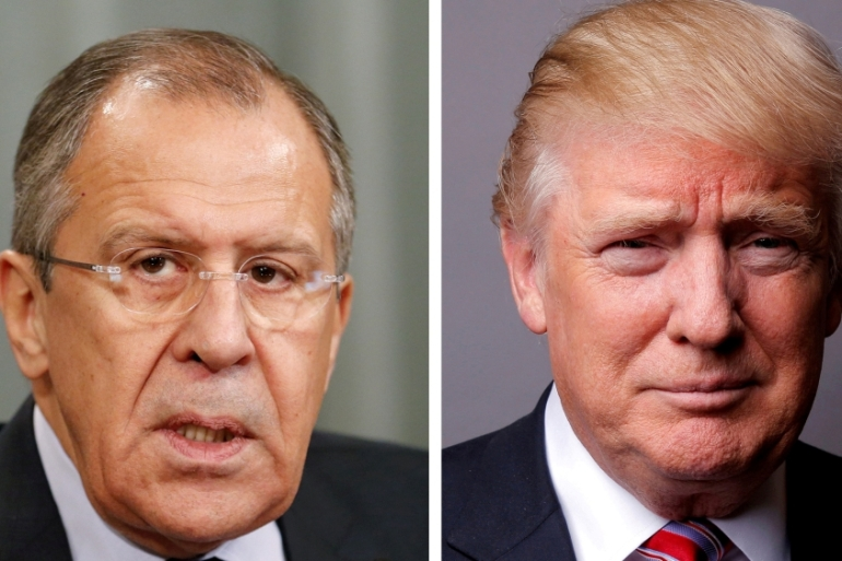 Sergey Lavrov and Donald Trump met at the White House last week [File: Maxim Zmeyev/Lucas Jackson/Reuters]