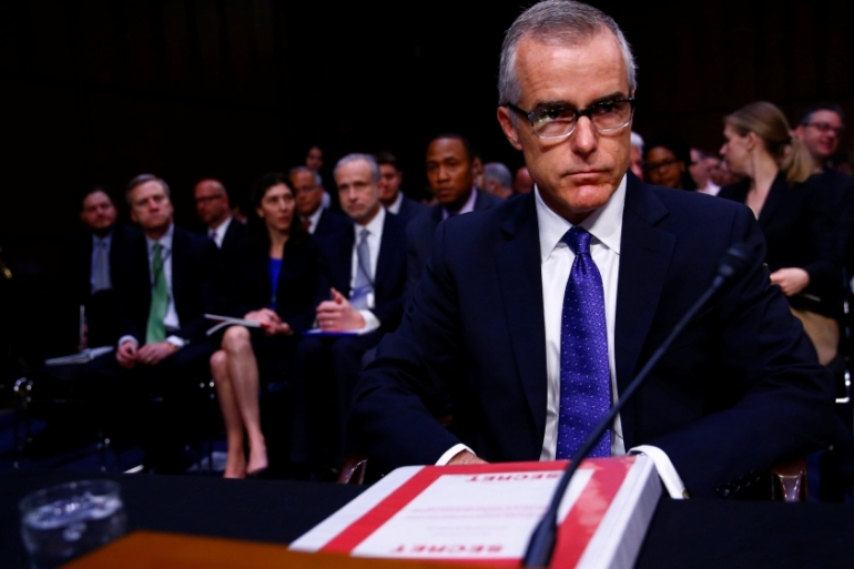 McCabe testifies before the  Senate Select Committee on Capitol Hill [Eric Thayer/Reuters]