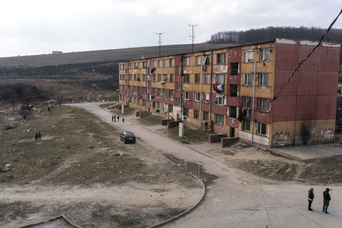 An hour's drive from Jarovnice is Lunik IX, a Roma slum consisting of a cluster of housing blocks. [Sorin Furcoi/Al Jazeera]