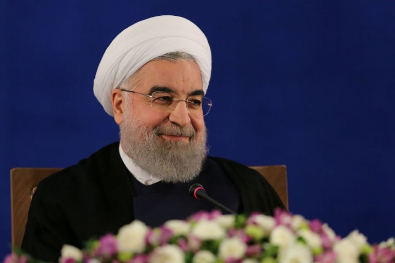 President Hassan Rouhani attends a news conference in Tehran on Monday [TIMA via Reuters]