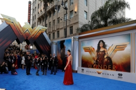 Cast member Gal Gadot poses at the premiere of Wonder Woman in Los Angeles [Reuters]