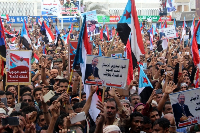 Supporters of the separatist Southern Movement demonstrated in support of al-Zubaidi after his dismissal [EPA]
